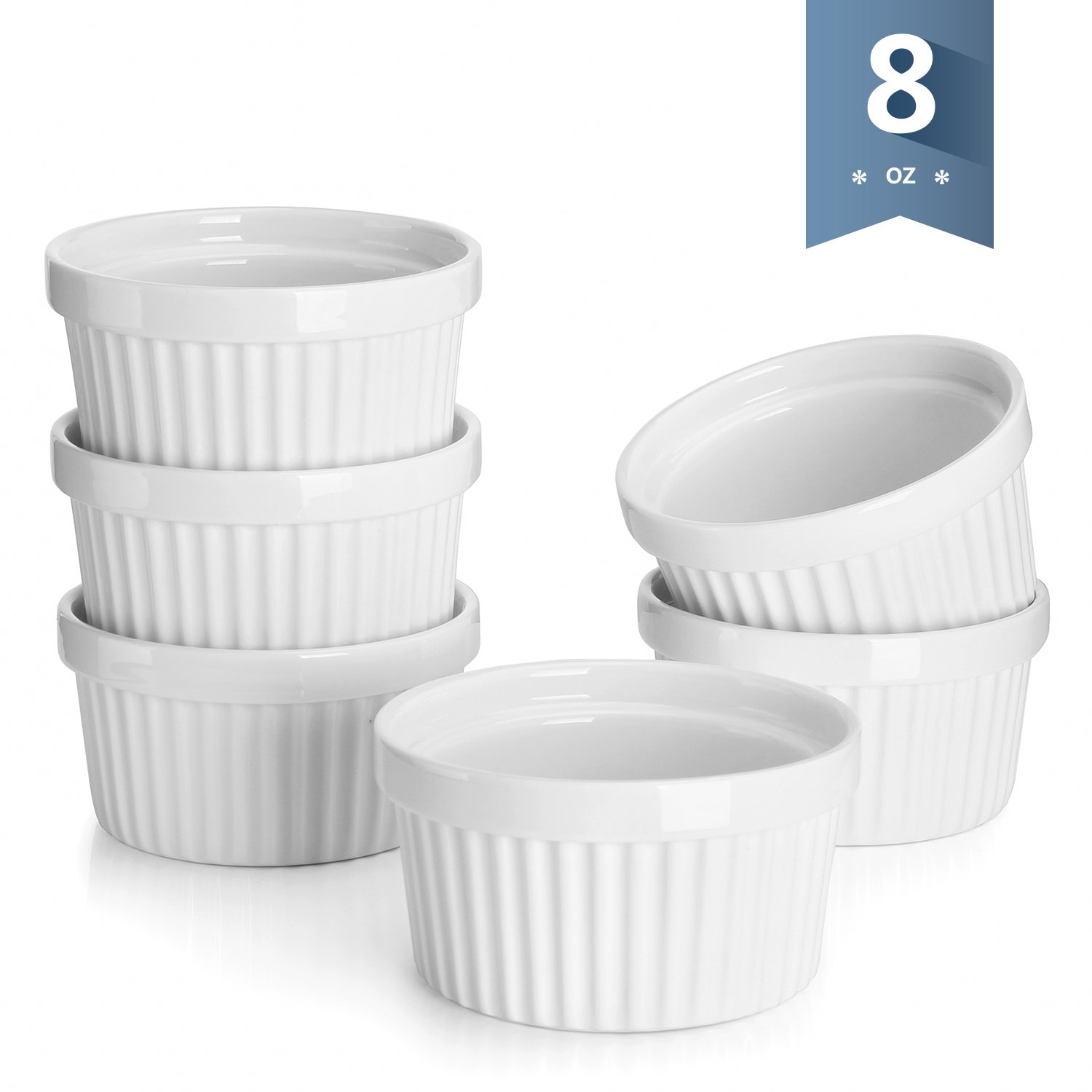 Sweese 5105 Porcelain Souffle Dishes, Ramekins - 8 Ounce for Souffle, Creme Brulee and Ice Cream - Set of 6, White