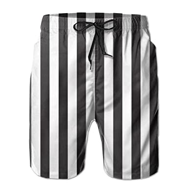 ffdedad2af Black and White Stripes Men Fashion Quick Dry Swim Trunks Beach Shorts With  Mesh Lining