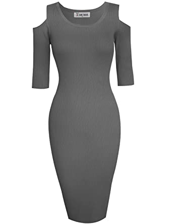 7f2ce759d14 TAM WARE Womens Stylish Cut Out Shoulder Bodycon Knit Midi Dress  TWCWD121-D160-CHARCOAL