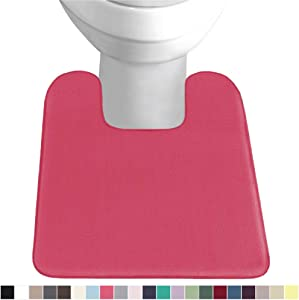 Gorilla Grip Original Thick Memory Foam Contour Toilet Bath Rug 22.5x19.5, Square, Cushioned, Soft Floor Mats, Absorbent Premium Bathroom Rugs, Machine Wash and Dry, Plush Bath Room Carpet, Hot Pink