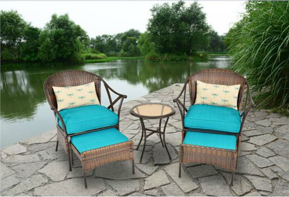outdoor patio furniture ottomans covers target chairs walmart amazon piece all weather wicker steel leisure bistro set cushioned includes