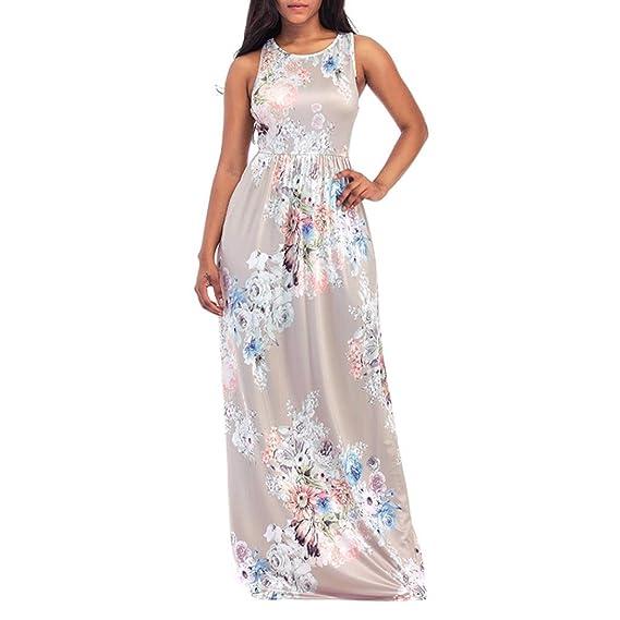 WINWINTOM 2018 Verano Mujer Casual Vestidos, Cóctel Fiesta Diario Playa Vestir, Mujer Beige Floral Impresión O-cuello Sin Mangas Largo Maxi Casual Playa ...