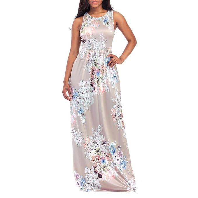 WINWINTOM 2018 Verano Mujer Casual Vestidos, Cóctel Fiesta Diario Playa Vestir, Mujer Beige Floral