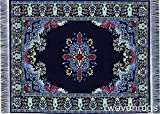 Navy Blue Oriental Woven Rug Mousepad Turkish Style Miniature Carpet Mousemat