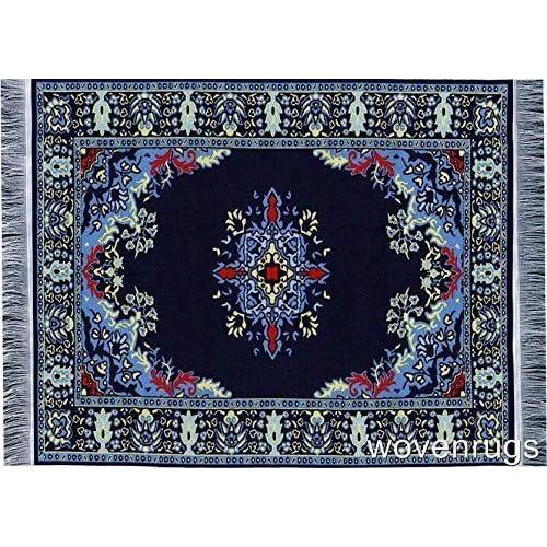 Navy Blue Oriental Woven Rug Mousepad Turkish Style Miniature Carpet Mousemat