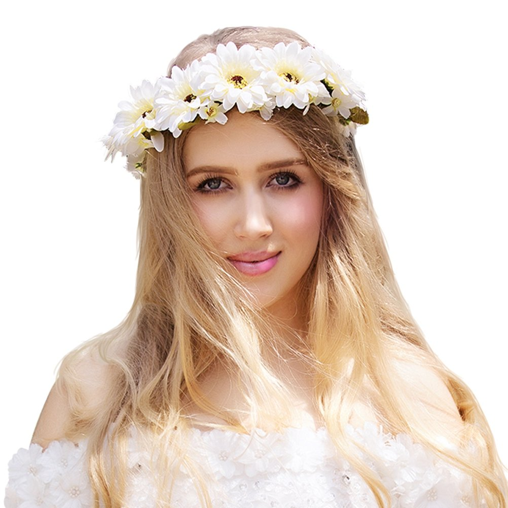 Valdler Exquisite Daisy Flower Crown with Adjustable Ribbon for Wedding Festivals