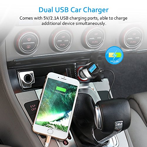 Dual USB Car Charger 5V//2.1A 3.5mm AUX Cable black Wireless FM Transmitter Radio Adapter Hands free Car Kit with Mic Echo /& Noise Reduction and Magnetic Mounts Comsoon Bluetooth Car Receiver