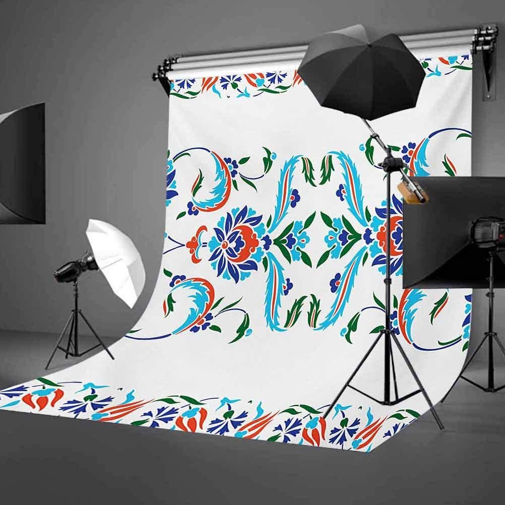 10x12 FT Backdrop Photographers,Old Turkish Ceramic Style with Tulips Vintage Ottoman Heritage Image Print Background for Photography Kids Adult Photo Booth Video Shoot Vinyl Studio Props Blue Red
