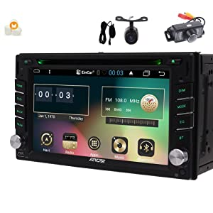 Android 6.0 6.2 inch Stereo with Double din GPS Navigation in Dash Capacitive Touchscreen Car DVD Player Support FM/AM/RDS Autoradio Bluetooth SWC USB/SD Headunit Include Front & Backup Camera