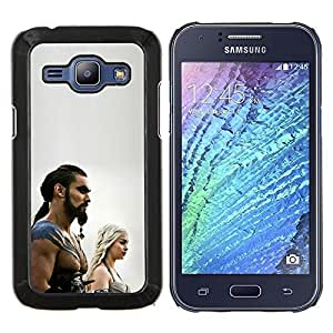 KLONGSHOP // Cubierta de piel con cierre a presión Shell trasero duro de goma Protección Caso - Khal Drogo - Samsung Galaxy J1 J100 //
