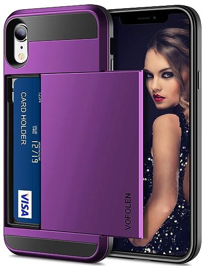 best website 11cd8 595aa Vofolen Case for iPhone XR Case Wallet Card Holder Sliding Cover Credit  Card Slot ID Pocket Dual Layer Protective Hard Shell Rugged TPU Hybrid  Bumper ...