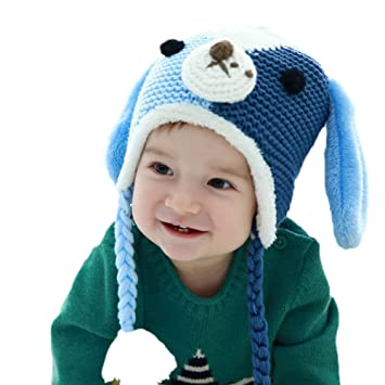 7384c7cc01a Amazon.com   Gemini Fairy Goodkid Cutest Dog Animal Handmade Ear Flap  Crochet Baby Hats Color Blocking Cap for 6-24 Month Every Angel Baby (Blue)    Baby