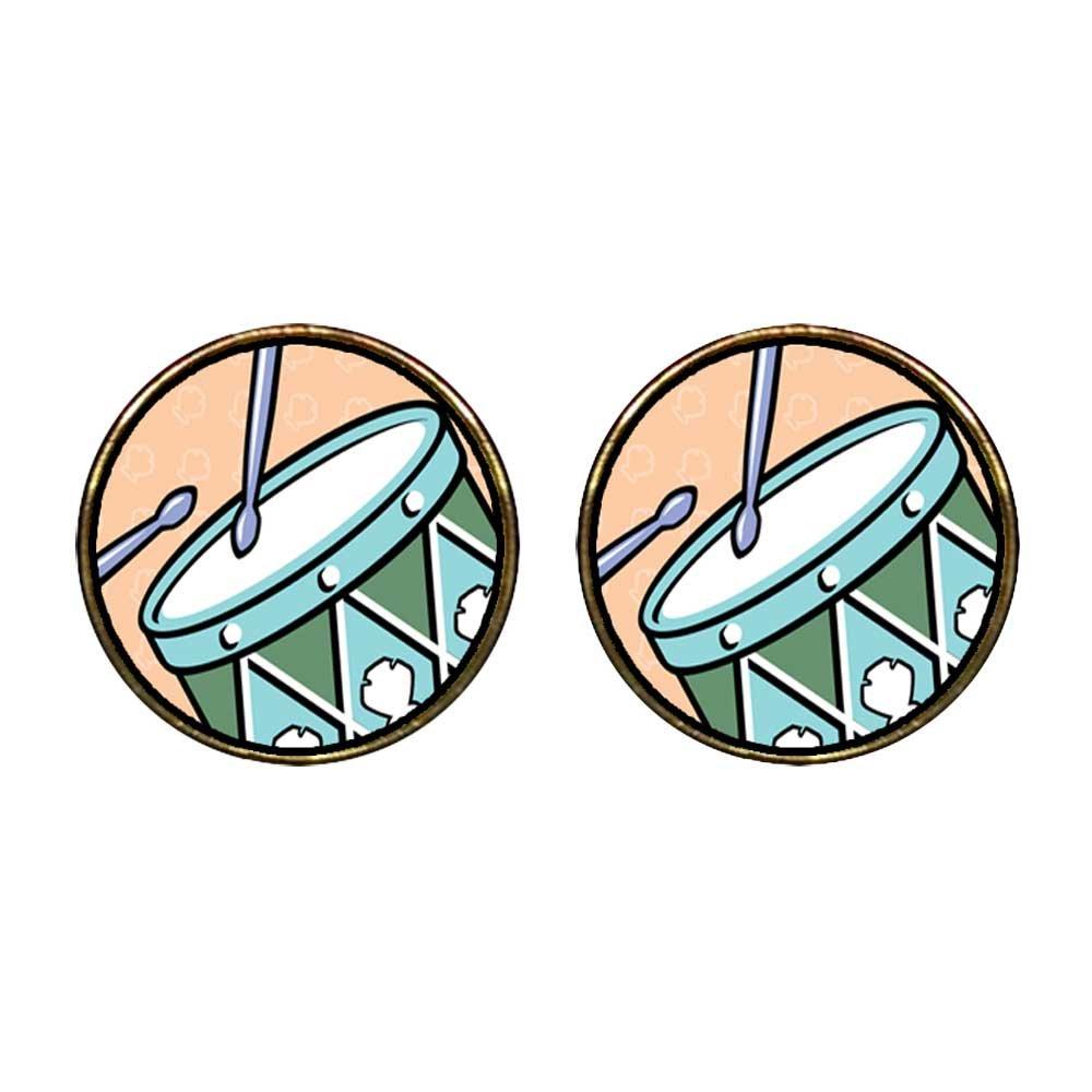 GiftJewelryShop Gold Plated Twelve Drumming Drummers Photo Storybook Photo Stud Earrings 12mm Diameter