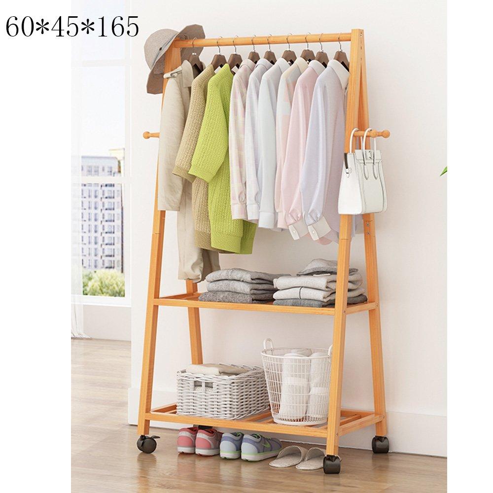 Xiaolin Hanger Simple Rack Floor Coat Rack Bedroom Floor Type Home Wood Hanging Clothes Rack Multifunctional with Pulley Optional Size (Size   60  45  165cm)