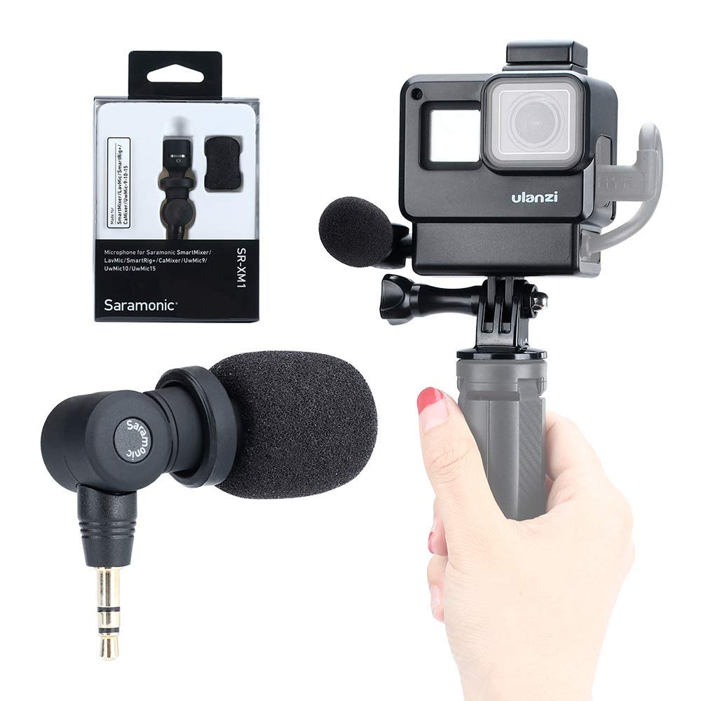 Vlog Setup for GoPro- Saramonic SR-XM1 3.5mm Wireless Video Recording Microphone + ULANZI Protective Housing Case Frame for GoPro Hero 7 6 5 Action Cameras