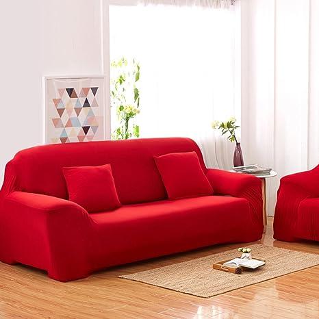 Sofás De 3 Plazas Covers 7 Colores Sólidos Estuche De Estiramiento Completo Tela Elástica Soft Sofá Funda Sofá Protector Muebles De Casa (Color : ...