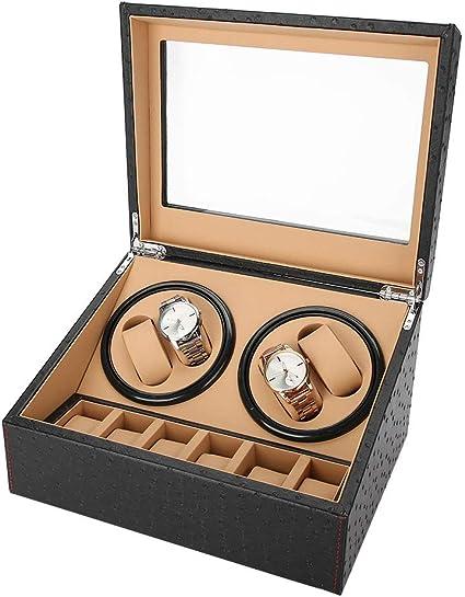 Estuche de Enrollador de Rotación Automática para Relojes, Caja de Almacenamiento para Relojes o Joyeria Organizadora y Exhibición, 4 + 6 Grids(grano de avestruz): Amazon.es: Belleza