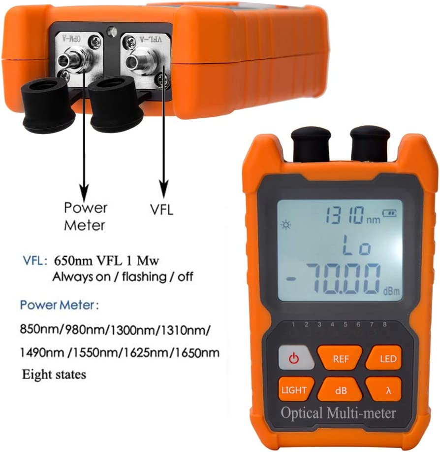 Portable Fiber Optic Cable Tester WT65 Digital LCD Display Handheld Network Cable Tester Optical Power Meter
