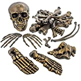 Halloween Haunters 28 Piece Bag of Plastic Antique Gold Skeleton Bones Prop Decoration - Spooky Graveyard Human Body Part Set