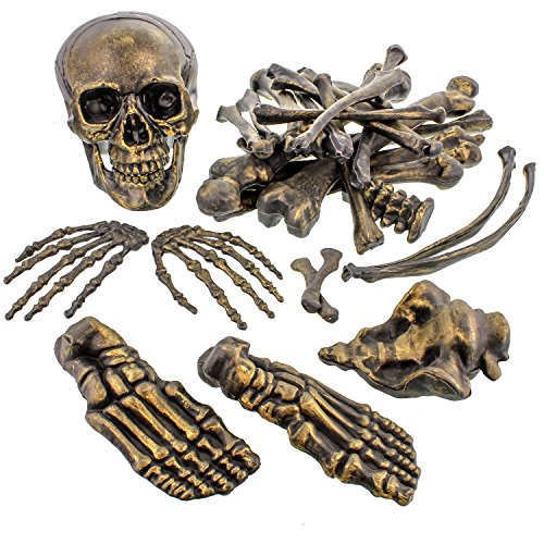 Halloween Haunters 28 Piece Bag Plastic Life Size Antique Gold Skeleton Bones Prop Decoration - Spooky Graveyard Human Body Part Set - Hands, Feet, Arms, Legs, Ribs, Hips, Spine, Vertebrates -