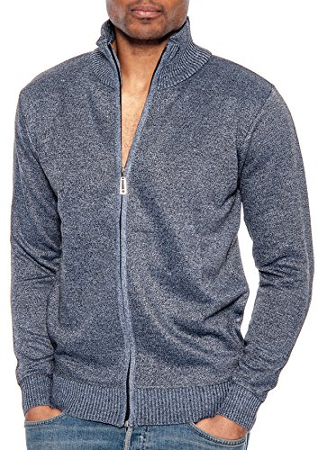 Tr Fashion Men's Long Sleeve Soft Casual Full Front Zip Cardigan Sweater (Marled Grey, (Cashmere Zip Front)