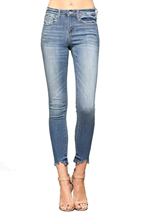 e826dc0d6add83 Vervet Jeans By Flying Monkey Mid Rise Ankle Skinny with Hem Tacking and  Cut Out (24, Blue) at Amazon Women's Jeans store