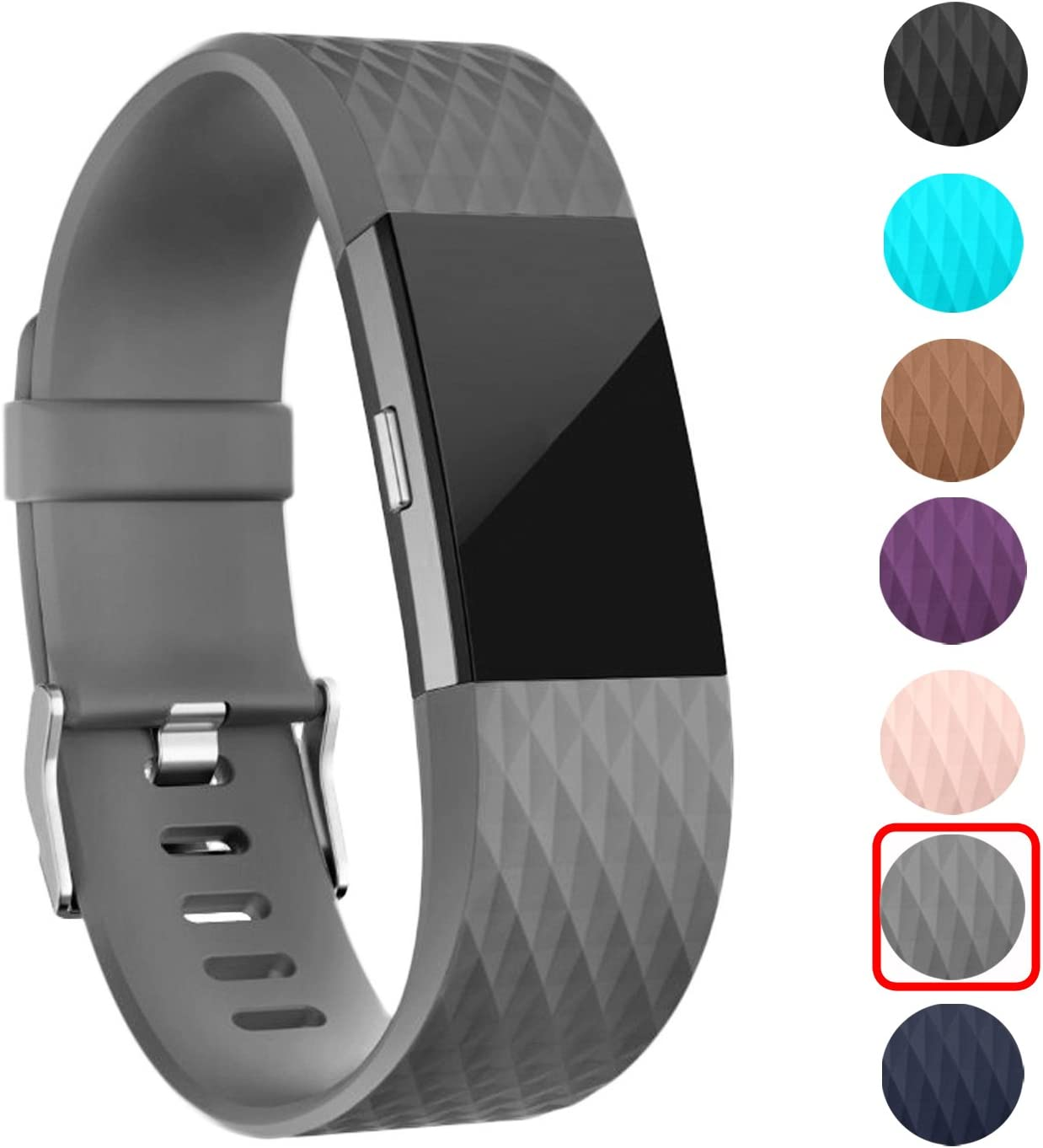 ULT-unite Soft Silicone Adjustable Replacement Sport Strap Band for Fitbit Charge 2 Fitbit Charge 2 Band