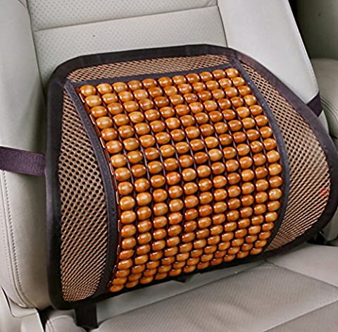 Pesp Summer Car Auto Seat Office Chair Lumbar Support Cushion Pad Wood Beads Massage Lumbar Pillow - Woods Mesh