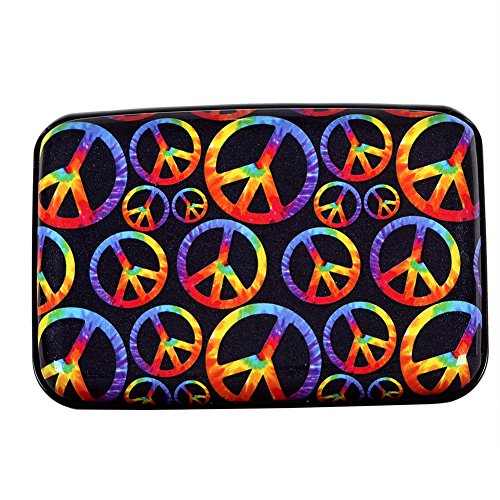 (Aluminum Wallet RFID Blocking Metal Credit Card Holder Slim Hard Case (Colorful Peace Sign))