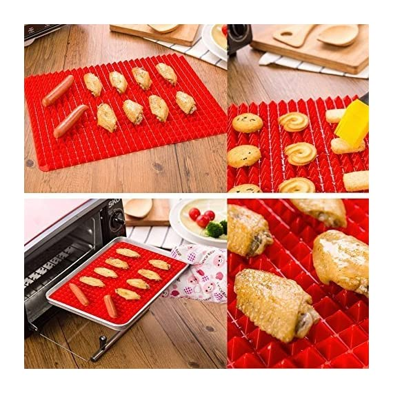 "Wolecok Wolecok Silicone Baking Mat, Cooking Pan Oven Tray Baking Sheet Pastry Cooking Mat 2 Pack 5 Material:100% Food Grade pure Silicone (no plastic fillers), BPA free, non-toxic . Temperature tolerance:-40℃ to 230℃(-40℉ to446℉) Dimensions: 16"" x 11.5"" , and It can be cut to a Specific Size"