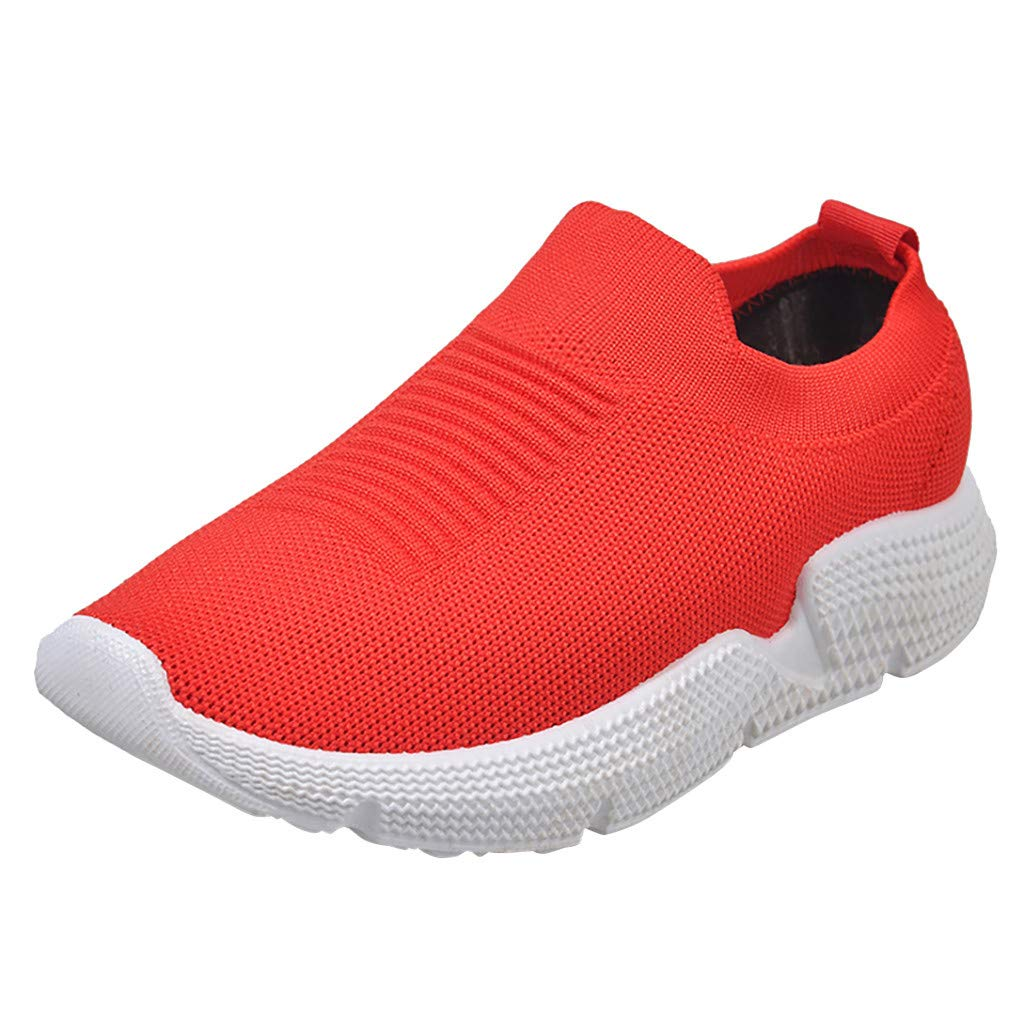 Dermanony Women's Slip-on Sneaker Leisure Large Size Mesh Breathable Outdoor Fitness Running Sport Sneakers Shoes Red by Dermanony _Shoes