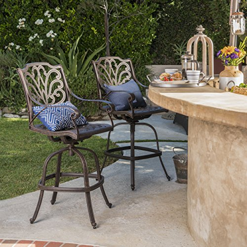 Alfresco Patio Set (Christopher Knight Home 301285 Alfresco Outdoor Finished Cast Aluminum Barstools (Set of 2), Bronze)