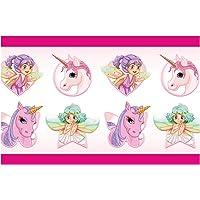 I-love-Wandtattoo Cenefa Autoadhesivo para niños Hadas y Unicornios