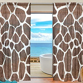 Amazon Com Giraffe Animal Curtain Set W Valance Sheer