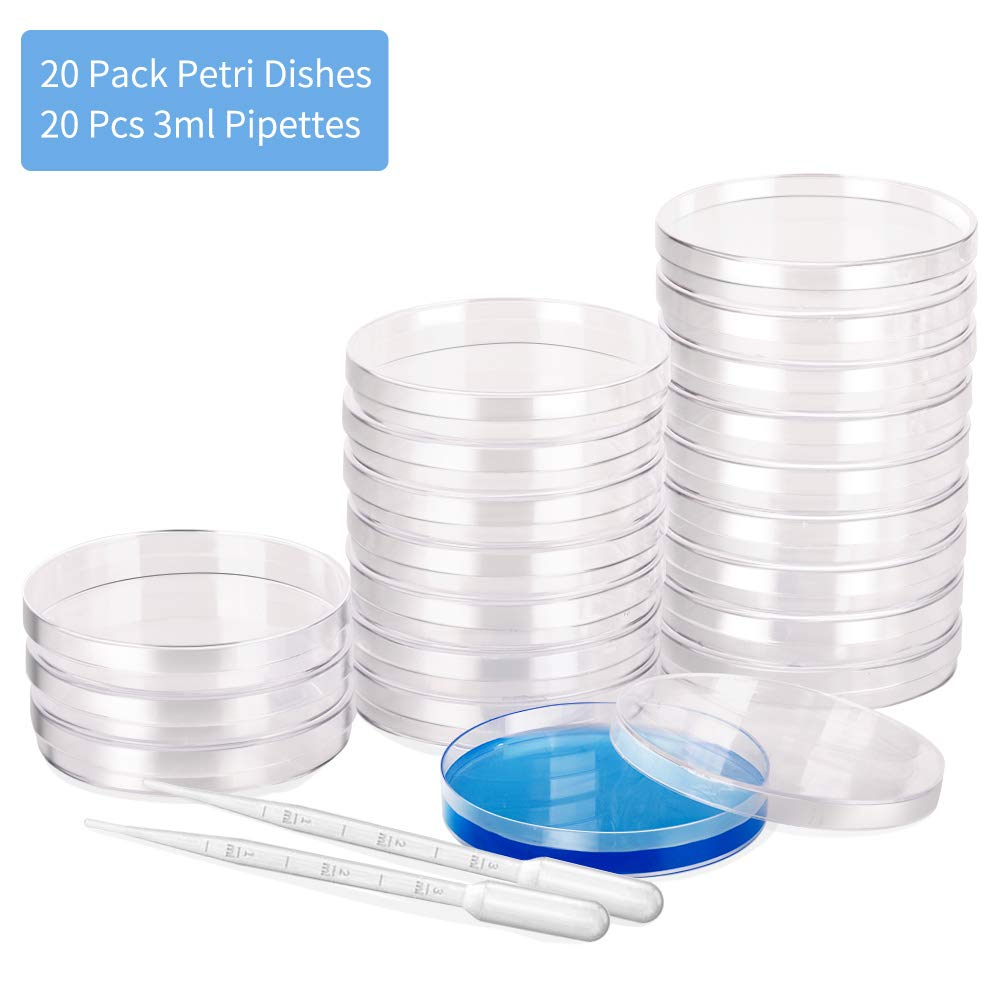 20 Pack Sterile Plastic Petri Dish Set with Lid, 90mm Dia x 15mm Deep Sterile Petri Dishes,with 20 pcs 3ml Plastic Transfer Pipettes by Momotata