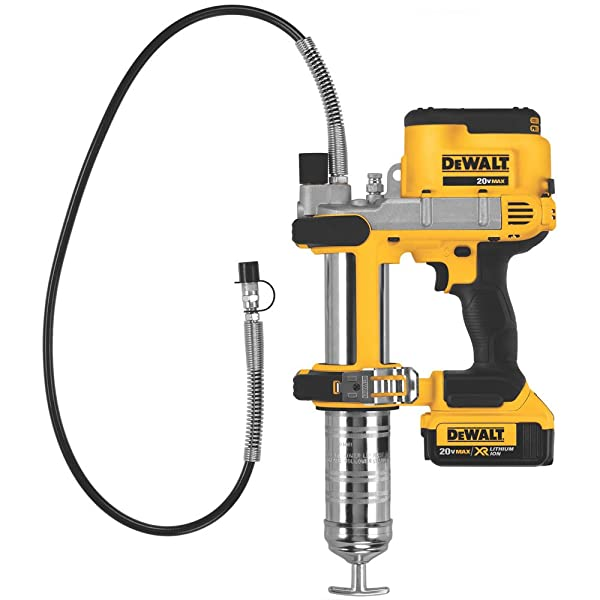 DEWALT DCGG571M1 works well for industrial and professional grade grease work.