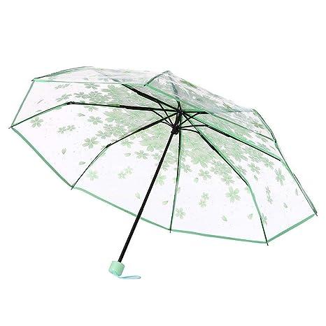 TINGSU Paraguas transparente transparente con diseño de cerezo y flor de seta (azul) verde