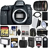 Canon EOS 6D Mark II Wi-Fi Digital SLR Camera Body with EF 24-70mm f/4L IS USM Lens + 64GB Card + Backpack + Flash + Video Light + Battery/Charger Kit