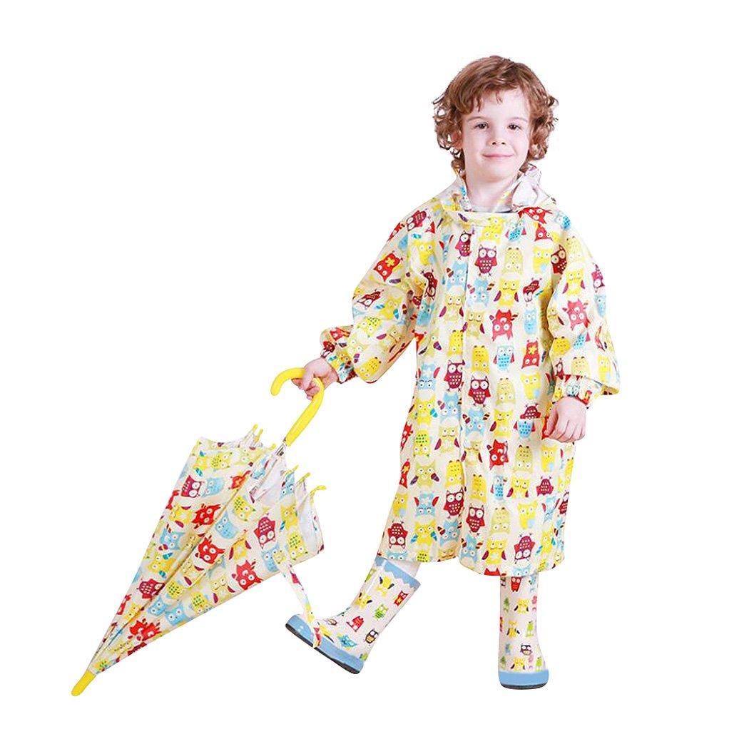 Kids Peony Print Hooded Waterproof Raincoat Rain Coats/Jacket for Girls for Boy Yellow