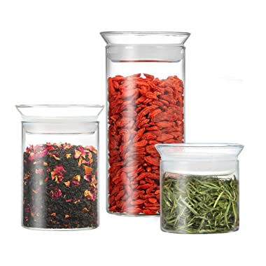 ZENS Glass Canister Set of 3,Airtight Clear Candy Jars with Sealed Lid, Food Storage Containers for Goji berries,Tea,Herbs 10 oz&15 oz&23.6 oz