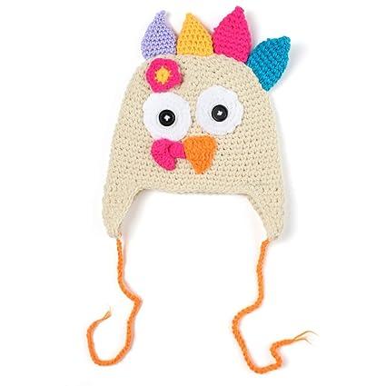 1e54651473d Amazon.com  JIAHUI Baby   Toddlers Thanksgiving Turkey Beanie Hat Cap Cute  Cartoon Animal Winter Knit Beanie With Ear Flap Photograph Props  Arts