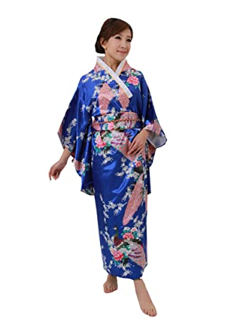 72b92c556e Amazon.com  Jtc Traditional Japanese Dress Women s Brocade Deluxe Kimono  Robe Yukata Blue  Clothing