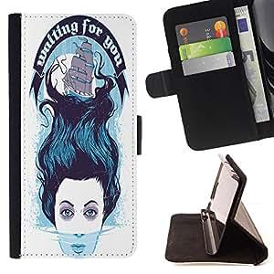 King Case - FOR Samsung Galaxy Core Prime - waiting for you - Prima caja de la PU billetera de cuero con ranuras para tarjetas, efectivo Compartimiento desmontable y correa para la mu?eca