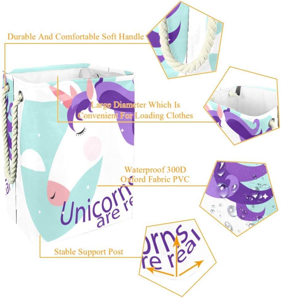 Indimization Licorne Sac à Linge Rectangle en Tissu Oxford avec poignées Panier de Rangement Haute capacité 49x30x40.5 cm Color3