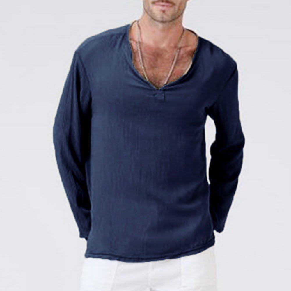 HELLOSAY Mens Summer Solid V-Neck Hippie Shirt Beach Yoga T-Shirt