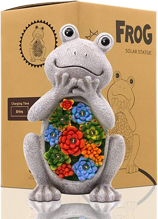 LIMEIDE Frog Solar Garden Statues Figurine with Succulent and 7 LED Lights,for Lawn Decor Garden Indoor Outdoor Garden(6.5x11 Inch)