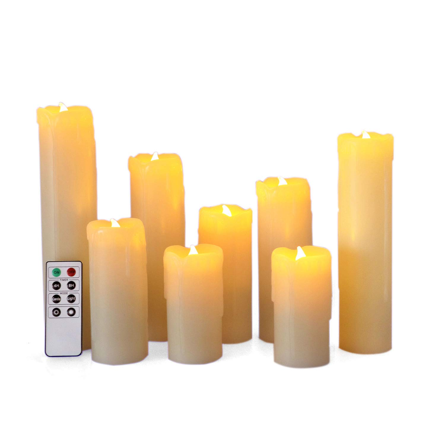 Set of 8 Flameless LED Candles with Timer, Battery Operated Candles with Remote Control, Ivory Wax Drip Finish, H4''/5''/6''/7''/8'', Long Lasting Batteies Included