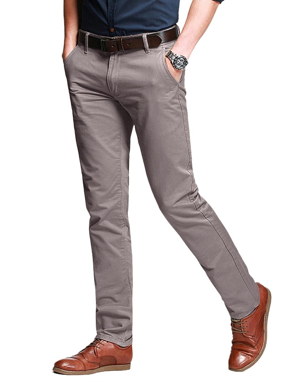 Match Men's Fit Tapered Stretchy Casual Pants (38W x 31L, 8106 Light khaki)