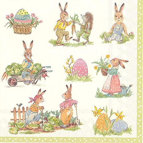 Chicks and Eggs IHR Paper Lunch Napkins 20 in pack 3 ply 33 cm square EASTER SPRING FANTASY Bunnies V/&B