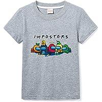 Among Us Camisa De Manga Corta con Cuello Redondo De Color Sólido para Niño Camiseta Casual para Niña